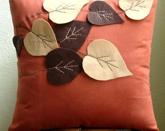 Spring Leaves - Throw Pillow Covers - 18x18 Inches Suede Pilllow Cover with Felt Embroidery