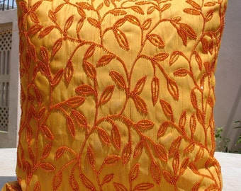 Citrus - Throw Pillow Covers - 20x20 Inches Silk Pillow Cover with Bead Embroidery