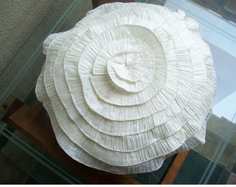 Vintage Ruffles - Throw Pillow Covers - 18 Inches Round Silk Pillow Cover with Ruffles