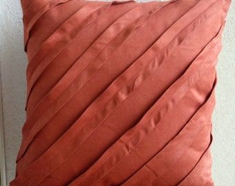 "Luxury Rust Pillow Cases, 16""x16"" Faux Suede Pillow Covers, Square  Textured Pintucks Solid Color Pillows Cover - Contemporary Rust"