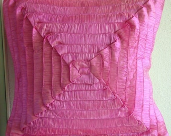 """Fuchsia Pink Throw Pillow Covers,  Square  Vintage Style Ruffles Shabby Chic 16""""x16"""" Crushed Silk Pillowcase - Vintage Blush"""