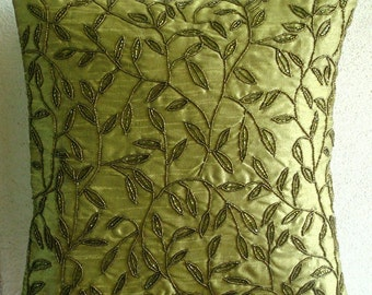 Tropical  - Euro Sham Covers - 26x26 Inches Silk Pillow Cover with Bead Embroidery
