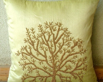 Tree Of Life - Euro Sham Covers - 26x26 Inches Silk Euro Sham Cover with Bead Embroidery