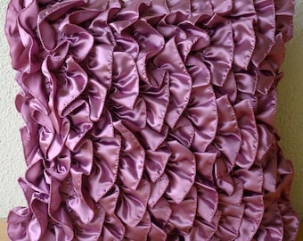 "Designer  Purple Accent Pillows,Vintage Style Ruffles Shabby Chic Pillows Cover Square  18""x18"" Satin Pillows Covers For Couch-Vintage Vines"