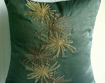 Green Foliage - Throw Pillow Covers - 20x20 Inches Silk Pillow Cover with Embroidery and Beads