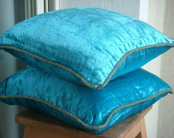 Turquoise Shimmer Euro Sham Covers - 26x26 Inches Square Euro Sham Cover in velvet with handmade bead border
