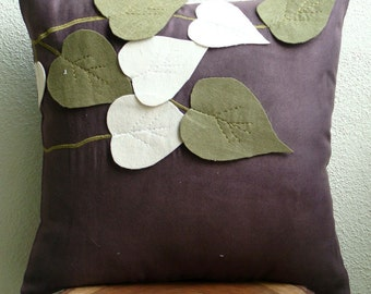 Olive Leafy Day - Euro Sham Covers - 26x26 Inches Suede Euro Sham Cover with Felt Embroidery