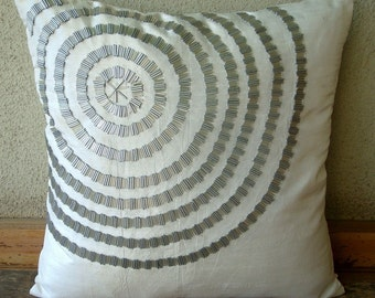 """Luxury White Decorative Pillow Cover, 16""""x16"""" Silk Pillow Covers, Square  Spiral Pipe Beads Pillow Covers - Staying Centered"""