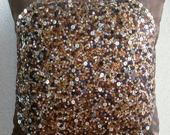 Brown Eye Sparkle -Throw Pillow Covers - 18x18 Inches Silk Pillow Cover Embellished with Sequins