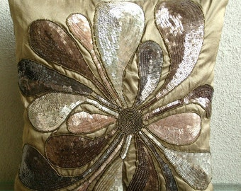 Exotica - Throw Pillow Sham Covers - 24x24 Inches Silk Pillow Sham Cover with Embroidery and Sequins