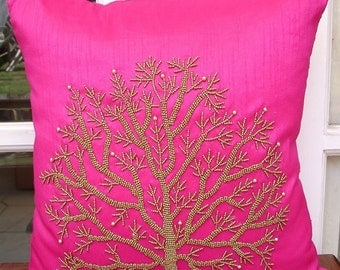 Fuchsia Tree Of Life - Throw Pillow Covers 18x18 Inches Silk Pillow Cover with Bead Embroidery
