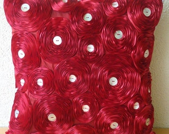 """Handmade  Red Pillow Cases, Ribbon Red Rose Flower Floral Theme Pillows Cover Square  18""""x18"""" Silk Pillow Covers - Bed Of Roses"""
