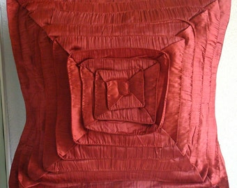 "Handmade Rust Cushion Covers, 16""x16"" Crushed Silk Pillowcase, Square  Vintage Style Frills Pillows Cover - RustyFrills"