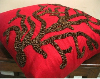 Coral Rhapsody - Throw Pillow Covers - 20x20 Inches Silk Pillow Cover with Chocolate Beads