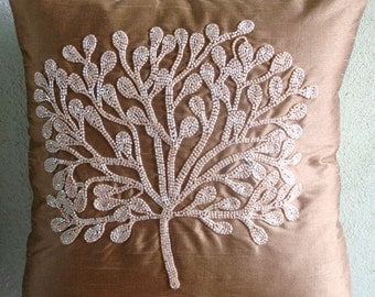Decorative Euro Sham Cover Accent Pillows Couch Toss Bed 26 x 26 Peach Silk Euro Sham Pillow Case Embroidered Home Decor Living My Wish Tree