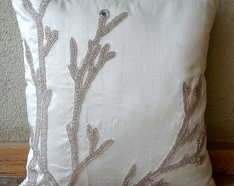 """Handmade White Throw Pillows Cover, 16""""x16"""" Silk Pillow Covers, Square  Metallic Beaded Willow Pillows Cover - Silver Willow"""