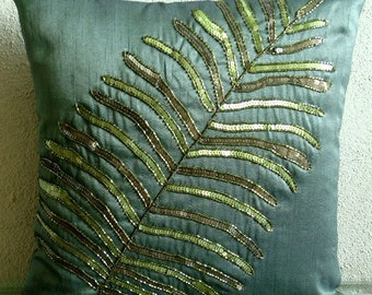 """Luxury Dark Green Pillows Cover, 16""""x16"""" Silk Pillows Covers For Couch, Square  Leaf Sequins & Beaded Pillows Cover - Floating Leaf"""