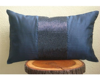 Decorative Oblong / Lumbar Rectangle Throw Pillow Covers Accent Pillow Couch Bed Toss 12x16 Navy Silk Pillows Pipe Embroidered Striking Navy
