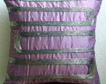 "Luxury Purple Decorative Pillow Cover, 16""x16"" Silk Pillows Cover, Square  Abstract Beaded Pillows Cover - Purple Motions"