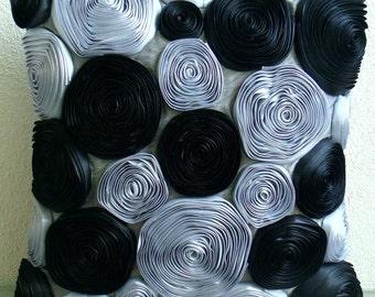 "Handmade Black Throw Pillows Cover, 16""x16"" Silk Pillowcase, Square  Ribbon Rose Flowers Floral Theme Pillows Cover - Black Rose"
