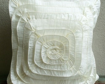 Decorative Throw Pillow Covers Accent Couch Sofa Pillows 16x16 Inch Ivory Silk Crushed Ruffles Pillows Home Decor Housewares Vintage Frills