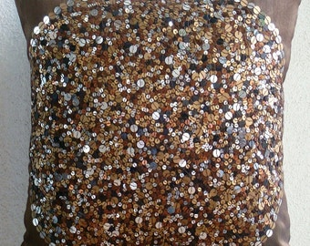 Brown Eye Sparkle - Euro Sham Covers - 26x26 Inches Silk Pillow Cover Embellished with Sequins