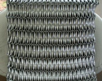 "Designer Metallic Silver Pillows Cover, 16""x16"" Faux Leather Pillow Covers, Square  3D Metallic Pillows Cover - A - MaZing"
