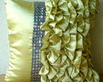 "Lime Green Pillow Cases,  Square  Vintage Style Ruffles With Crystals Shabby Chic 16""x16"" Satin Pillows Cover - Diamonds & Ruffles"