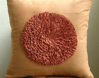Vintage Rust Flower - Throw Pillow Covers -  20x20 Inches Suede Pillow Cover with Suede Frill Flower