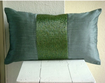 Decorative Oblong / Lumbar Throw Pillow Cover Accent Pillow Couch Sofa Bed 12x16 Inch Green Silk Pillow Embroidered with Pipes Green Center