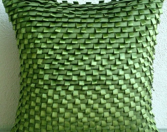 "Designer Green Decorative Pillows Cover, 16""x16"" Faux Suede Pillowcase, Square  Textured Pintucks & Ribbon Loops Pillows Cover - Go Green"