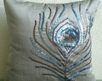 """Handmade Silver Decorative Pillow Cover, 16""""x16"""" Silk Pillows Cover, Square  Sequins Peacock Feather Pillows Cover - Peacock Feather"""