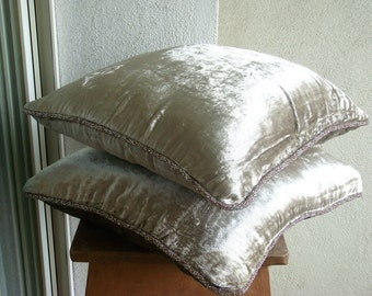 """Luxury Pearl Pillows Cover, 16""""x16"""" Velvet Pillow Covers, Square  Solid Color Beaded Cord Pillows Cover - Pearl Shimmer"""