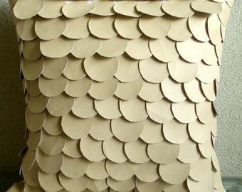 "Handmade  Beige Accent Pillows, Mermaid Design Textured Pillows Cover Square  18""x18"" Faux Leather Pillowcase - Mermaid"