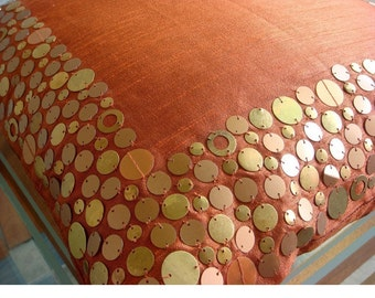 Rust Glamor - Euro Sham - 26x26 Inches Silk Dupion Euro Sham Cover with Sequins