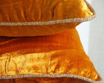 "Luxury Orange Yellow Pillows Cover, 16""x16"" Velvet Pillows Cover, Square  Solid Color Beaded Cord Pillowcases - Glorious Flame"
