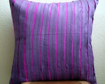 "Handmade Purple Accent Pillows, 16""x16"" Faux Suede Pillows Cover, Square  Textured Pintucks Pillow Covers - Purple Rags"