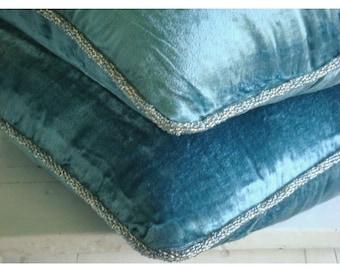 """Handmade Blue Pillow Covers, 16""""x16"""" Velvet Pillow Covers, Square  Velvet Beaded Cord Pillows Cover - Blue Shimmer"""