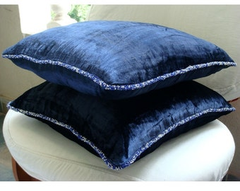 """Navy Blue Throw Pillows Cover For Couch,  Square  Solid Color Beaded Cord 16""""x16"""" Velvet Throw Pillows Cover - Navy Shimmer"""