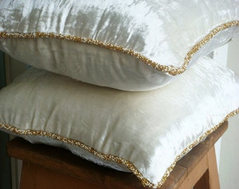"""Luxury White Pillow Covers, 16""""x16"""" Velvet Pillows Covers For Couch, Square  Solid Color Beaded Cord Pillow Covers - White Shimmer"""