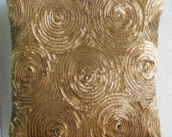 """Designer  Gold Throw Pillows Cover For Couch, Spiral Sequins Pillows Cover Square  18""""x18"""" Silk Throw Pillows Cover - Golden Touch"""