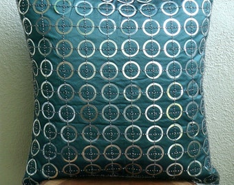"Luxury Teal Blue Accent Pillows, 16""x16"" Silk Pillowcase, Square  Metallic Sequins Pillows Cover - Teal N Silver Rings"