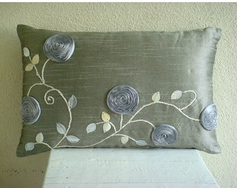 Decorative Oblong / Lumbar Rectangle Throw Pillow Covers Accent Pillow Couch 12x16 Silver Silk Pillows Ribbon Embroidered Silver Rose Garden