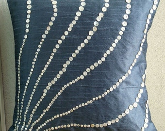 """Handmade Slate Blue Pillows Cover, 16""""x16"""" Silk Throw Pillows Cover, Square  Mother Of Pearls Pillow Covers - Blue Moon"""
