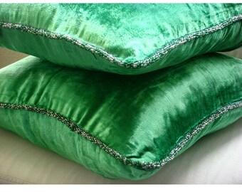 """Luxury Emerald Green Pillows Cover, 16""""x16"""" Velvet Throw Pillows Cover, Square  Velvet Beaded Cord Pillows Cover - Green Shimmer"""
