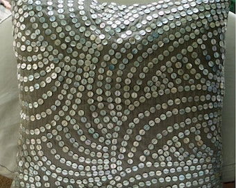 Decorative Throw Pillow Covers Accent Pillow 20 x 20 Silk Pillow Cover Silver Mother of Pearls Pearl Nostalgia Home Living Decor Housewares