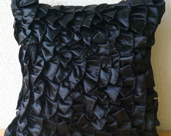 Vintage Blacks - Pillow Sham Covers - 24x24 Inches Satin Pillow Sham Cover in Black Satin Ruffles
