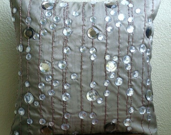 Diamond Strings - Throw Pillow Covers - 20x20 Inches Silk Pillow Cover with Crystals and Bead Embroidery