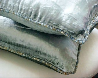 """Luxury  Silver Pillow Cases, Solid Color Beaded Cord Throw Pillows Cover Square  18""""x18"""" Velvet Pillowcase - Silver Shimmer"""