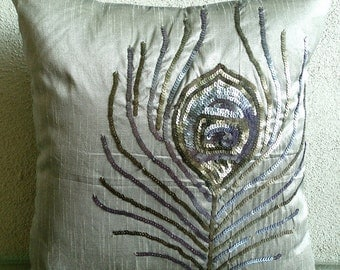 Peacock - Throw Pillow Covers - 18x18 Inches Silk Pillow Cover with Sequin Embrodiery
